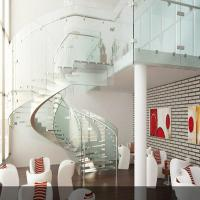 Laminated Glass Steps Staircase With Curved Stainless Steel Stringer PR-C25