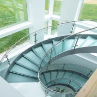 Customized Steel Glass Railing Systems For Curved Glass Staircase PR-C29