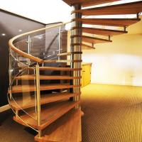 Buy cheap High quality spiral staircase interiror wood treads glass ralings spiral stairs from wholesalers