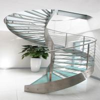 Stainless Steel Laminated Glass Curved Staircase PR-C34