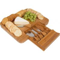 Buy cheap Slide Out Bamboo Cheese Board and 4 Piece Knife Set, Bamboo Cheese Serving Tray from wholesalers