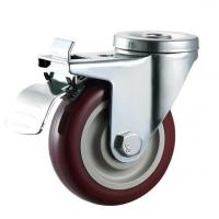 Buy cheap medium duty caster braked bolt hole red pu swivel wheel caster with brake from wholesalers
