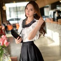 China Women Ruffle Round Collar Short Sleeve Vintage Shirt Solid Blouse on sale