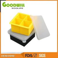 Colorful Custom 4 Cavity Silicone Ice Cube Tray With Lid, Ice Cream Maker