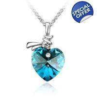 Buy cheap Blue Crystal Heart Pendant Necklace from wholesalers