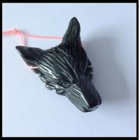 Buy cheap Black Agate Gemstone Wolf Head Carved Ornament 43x30x13mm,13g product