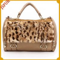 Buy cheap Calf skin leather handbag with Leopard rabbit fur from wholesalers