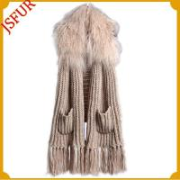 Buy cheap Long knitting scarf with Lamb fur trim, pockets, fringes from wholesalers