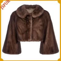 Buy cheap Fur jackets Brown mink waistcoat with wind sleeve from wholesalers