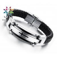 Buy cheap Fashion Cross Pattern Stainless Steel Leather Cord Bracelets from wholesalers