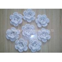 Buy cheap 6 Petals White Small Knitted Flower Washable Crochet Flower Applique For Hair from wholesalers