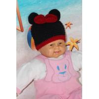 Buy cheap Mickey Mouse Head Shape Black Knitted Girls Crochet Hats 100% Acrylic Material from wholesalers