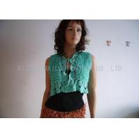 Buy cheap Green Hand Crochet Sleeveless Cardigan Sweater Front Open Cotton Knit Cardigan from wholesalers