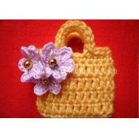 Buy cheap Crochet Christmas Ornaments / Golden Beads Yellow Crochet Satchel With Purple Flower from wholesalers