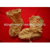 Buy cheap Yellow Hollow Out Crochet Baby Booties Woolen Yarn Anti - Pilling Machine Washed from wholesalers