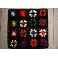 Buy cheap Wool Crochet Chair Cover Black Background With Colorful Flowers , Knitted Stool Cover from wholesalers