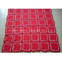 Buy cheap Red Crochet Flower Blankets Personalized Kids Crochet Blankets With Multi Compartments from wholesalers