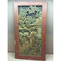 Buy cheap Asian Hand Carved Gilded Bas Relief Panel with 5 Adults 1 Baby Red Frame from wholesalers