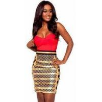 Buy cheap Anti - Wrinkle Gold Foil Bandage Dress Sleeveless Rayon Nylon Spandex Material product