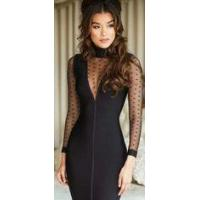 Buy cheap See Through High Neck Long Sleeve Bandage Dress Lace Evening Party from wholesalers