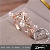 Korean Opening Adjustable Leaves Flowers Wholesale Pearl Gold Rings Jewelry