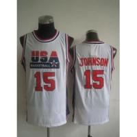 Buy cheap USA Basketball 1992 Dream Team No.15 Magic Johnson White Jersey product