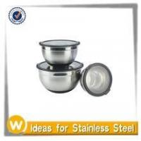 Buy cheap New Design 3PC Transparent Lid Stainless Steel Mixing Bowl Set With Non-skid Silicone Base from wholesalers