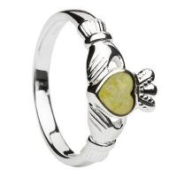 Buy cheap Sterling Silver Connemara Marble Ladies Claddagh Ring from wholesalers