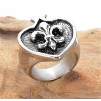 Buy cheap Fashion Mens Playing Card Poker Spade Black Silver Rings Cross Fleur-de-lis rings jewelry from wholesalers