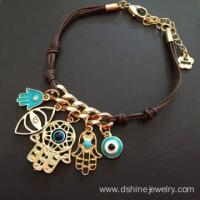 Buy cheap Leather Knots Chain Evil Eye Bracelet With Hamsa Pendant from wholesalers