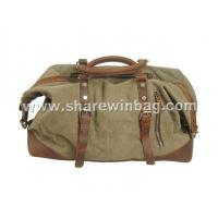 Buy cheap canvas duffel bag crazy horse leather trim from wholesalers