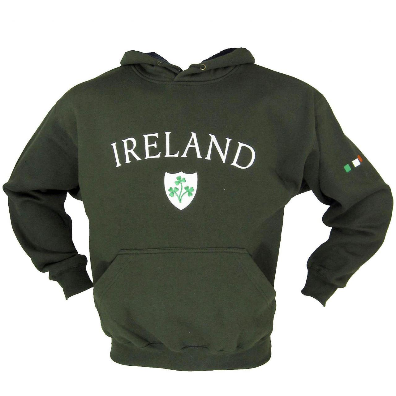 Buy cheap Cricket & Rugby Ireland Shamrock Olive Green Fleece Lined Rugby Hoody - XS -XXL from wholesalers