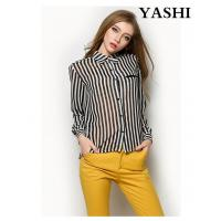 Buy cheap Wholesale White and Black Stripe Chiffon Women Fashion Blouse from wholesalers