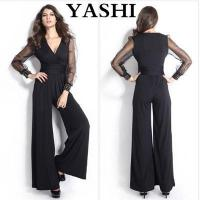 Buy cheap Sexy Womens Black Long Pants and Long Mesh Sleeves Jumpsuit from wholesalers