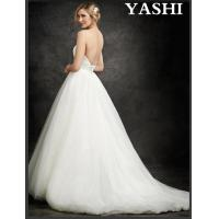 China Cheap Bridal Ball Gowns Strapless Tulle Beads Stock Wedding Dress on sale