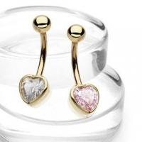 Buy cheap 14Kt Yellow Gold Belly Button Navel Ring w. Clear Bezel Setting Heart CZ from wholesalers