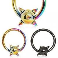 Buy cheap Titanium Anodized Spike Captive Bead Rings from wholesalers