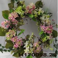Buy cheap Wreath & Garland Product  18 Pink / Green Hydrangea With Berries Wreath from wholesalers