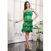 Buy cheap Fresh Green Knee Length Prom Dress With Spaghetti Straps Luxury from wholesalers