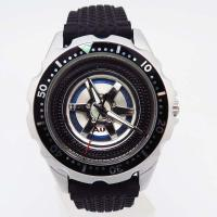 Buy cheap Fashion watch tyre style rubber band wrist watch japan movt watch stainless steel black from wholesalers