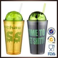 Buy cheap DP502 Wholesale promotional BPA free custom logo double wall plastic tumbler with straw from wholesalers