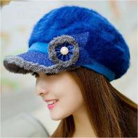 Buy cheap ladies winter formal occasion flower adornment elegant rabbit hair hats wholesale from wholesalers