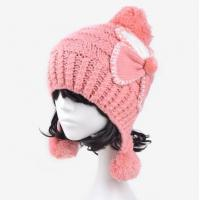 Buy cheap women winter ears knitted hats and fashion bowknot crochet cap wholesale from wholesalers