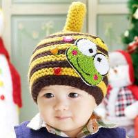 Buy cheap pretty frog figure striped stitching baby knit hats wholesale from wholesalers