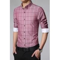 Buy cheap Men's Shirts Brick Red Classic Paid Pattern Leisure Male Shirt from wholesalers
