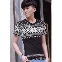 Buy cheap Men's T-Shirts Black Korea Fashion Print Mens T-shirt from wholesalers
