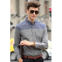 Buy cheap Men's Shirts Grey Contrast Color Block Soft Cotton Shirt from wholesalers