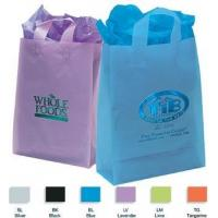 China Foil Imprint Translucent Frosted Soft Loop Promo Shopping Bag - 13w x 17h x 6d on sale