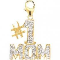 Buy cheap 14K Yellow Gold 0.1ct TDW Diamond #1 Mom Charm from wholesalers