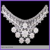 Buy cheap 100% polyester material embroidery design collar neck lace trim for ladies dresses or blouses from wholesalers